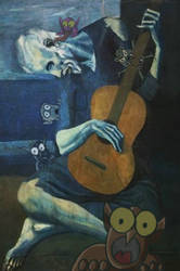 Pablo Picasso's The Old Guitarist, With Monsters