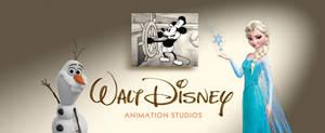 Walt Disney Animation Studios logo with Elsa and O