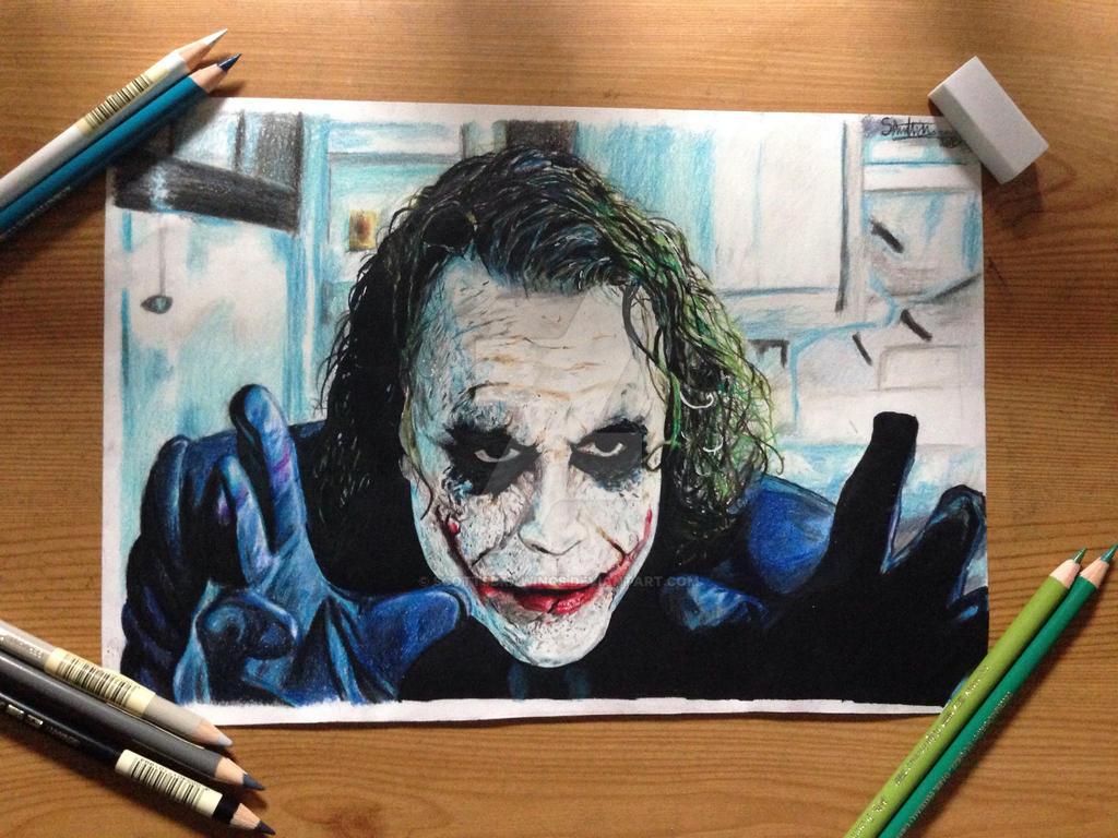 Heath ledger joker colour pencil drawing by scottsdrawings