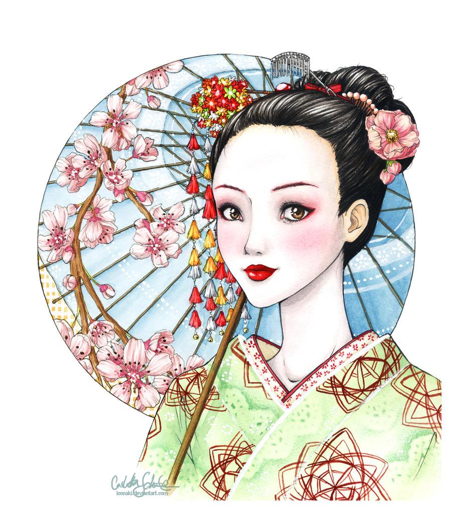 how to draw a kimono girl