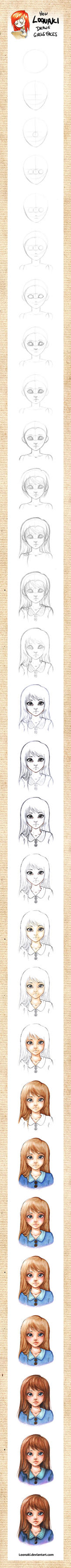 How Loonaki Draws Girls Faces by Loonaki