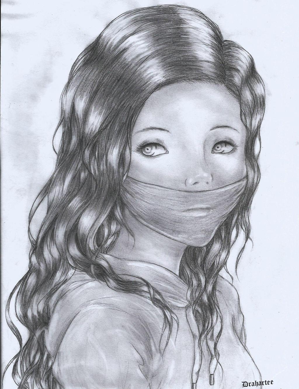 Drah Artee Dibujos Chica con la boca tapada