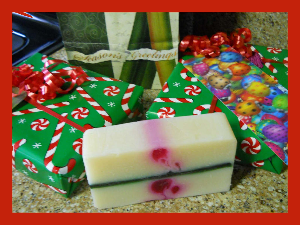 Candy Cane Homemade Soap by Chlodulfa