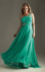 A-line One Shoulder Floor-length Chiffon Dress