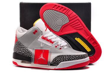 Air Jordan 3 GS Retro Wolf Grey-Sport Red