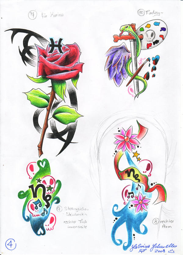 Tattoo Motive four by ~MirriTakino on deviantART