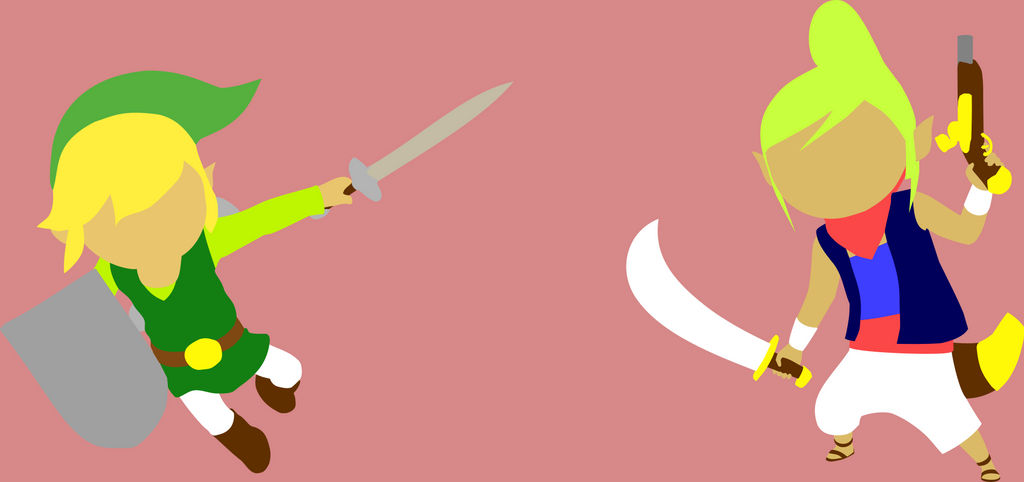 Link VS Tetra minimalist wallpaper