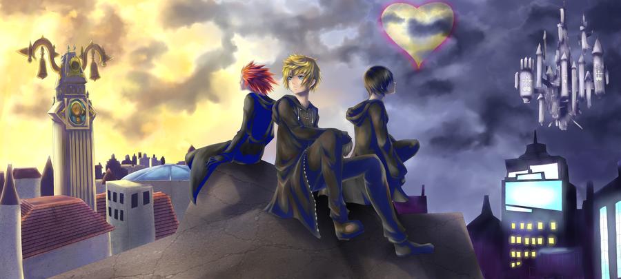 Kingdom Hearts trio by midorisprite