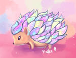 Pastel Galaxy Hedgehog by AClockworkKitten