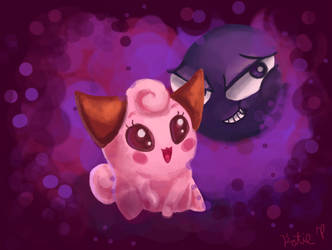 Gastly and Cleffa by AClockworkKitten