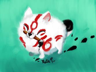 Okami Pomeranian by AClockworkKitten