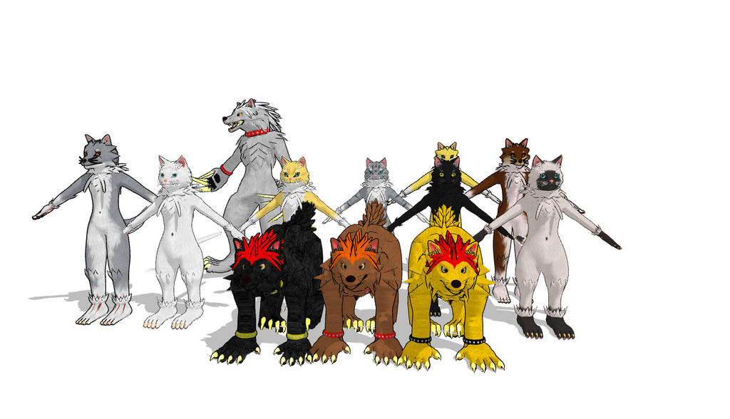 MMD CATS AND DOGS by Nanashione