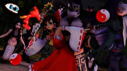 Housamo X Touhou: The Miko and The Hero by Nanashione
