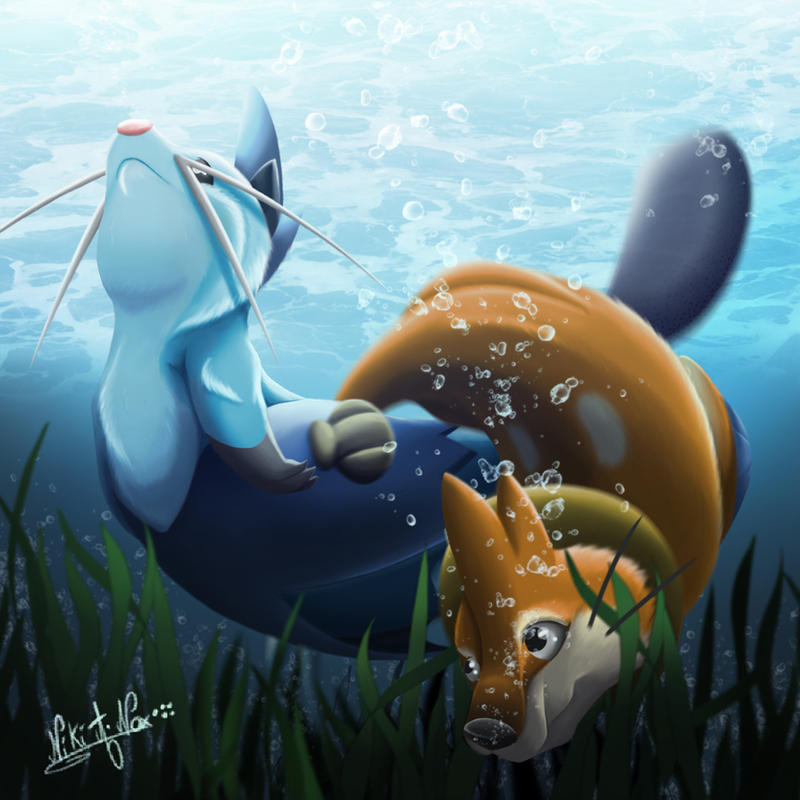 Dewott and Buizel UnderWater by Nikithewerewolf