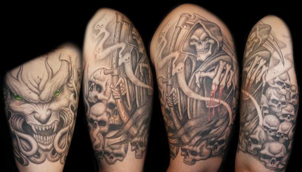 grim reaper half sleeve by bjsxiii