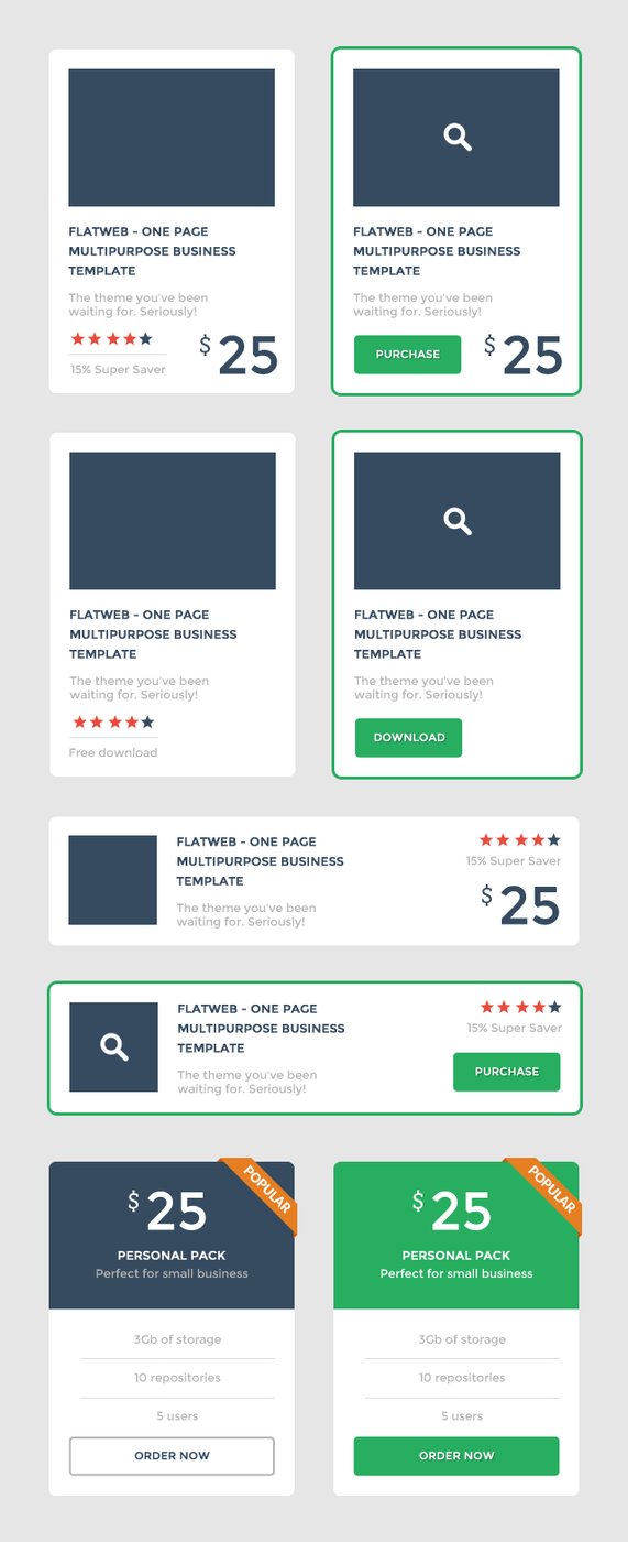 Free PSD - Set of Flat UI Promo Blocks by prestigedesign