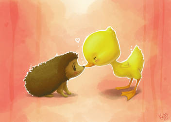Hedgehog and Duckling by Kellykatz