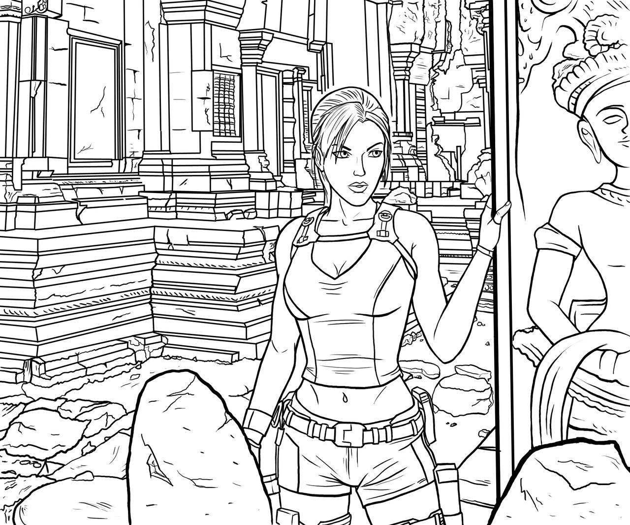 tomb raider angkor lineart by bksmith - Lara Croft Coloring Pages