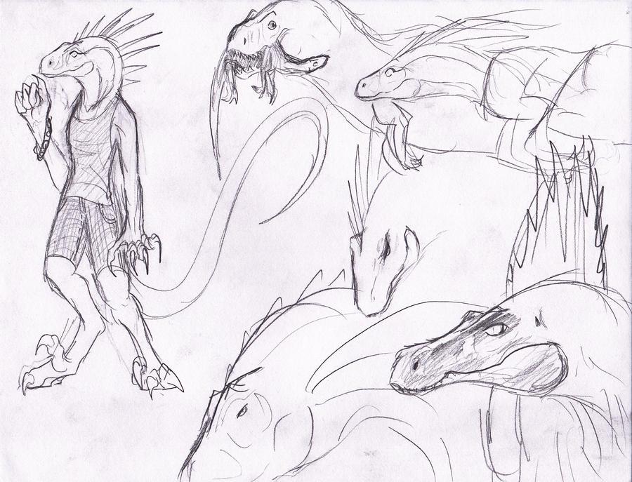 Anthro Raptor Girl Doodle by ShinyAquaBlueRibbon on DeviantArt