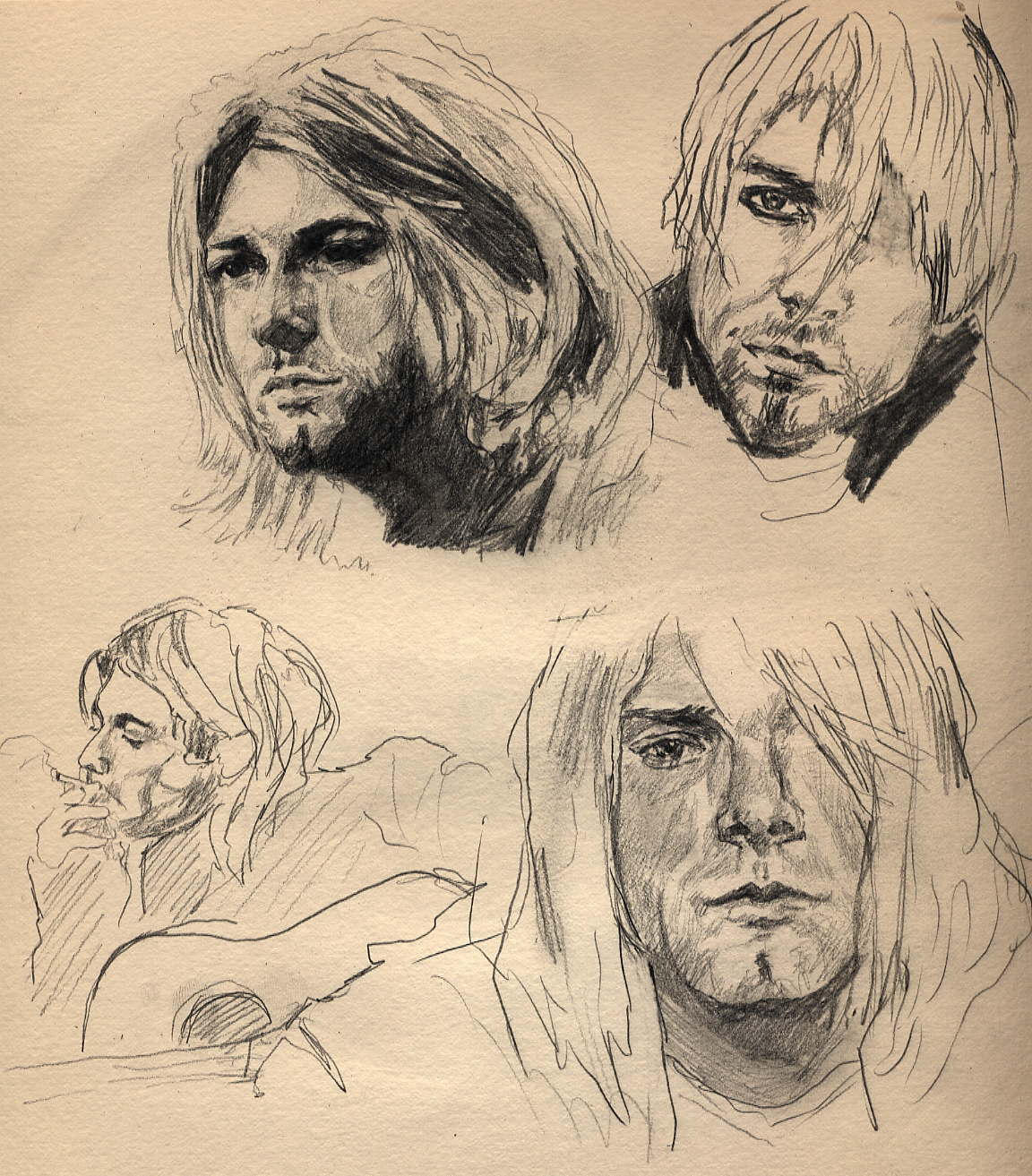 This is a graphic of Eloquent Drawing Of Kurt Cobain