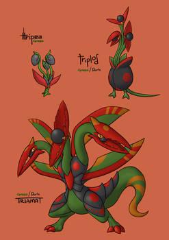 Pokemon Concept #23 - Tripea, Triplod, Triamat
