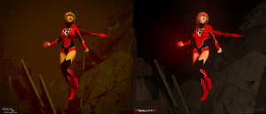 SuperGirl Red Lantern side by side Reality vs Daz