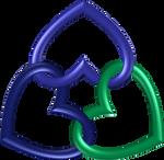 Circle 3 hearts blue indigo green