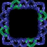 Blue green indigo frame 7 square hearts