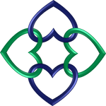 Circle 4 indigo green hearts