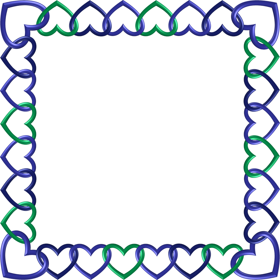 Blue green indigo frame 10 square hearts by happyare