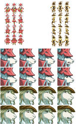 Fire and Rain: Freya and Fratley Sprites by crumblygumbly