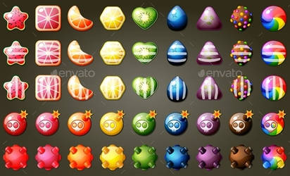 Fruit Candies Match Three Puzzle Game Set