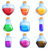 Potion Bottles For Match Three Puzzle Game