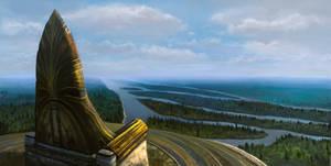 Across Middle-Earth - Amon Hen by ralphdamiani
