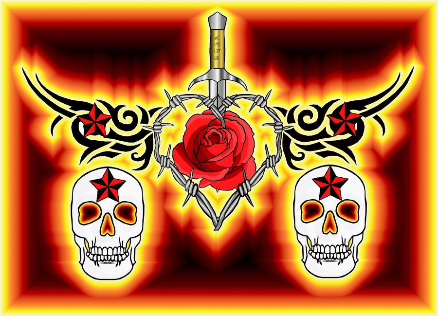 Fire skulls and roses by moatswimmer inugrl on deviantart fire skulls and roses by moatswimmer inugrl voltagebd Images