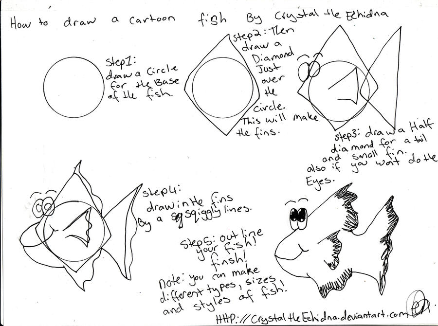 how to draw a cartoon fish 3 by crystaltheechidna