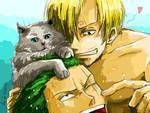 Sanji, Zoro and cat