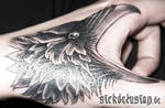 Raven Tattoo on Hand by sickdelusion