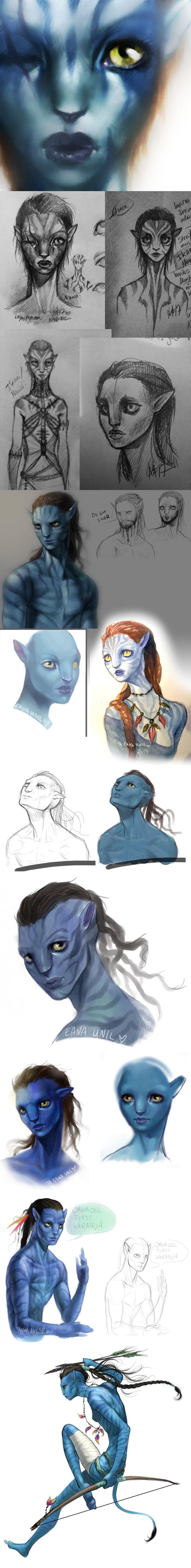 Na'vi Sketch Dump by sickdelusion