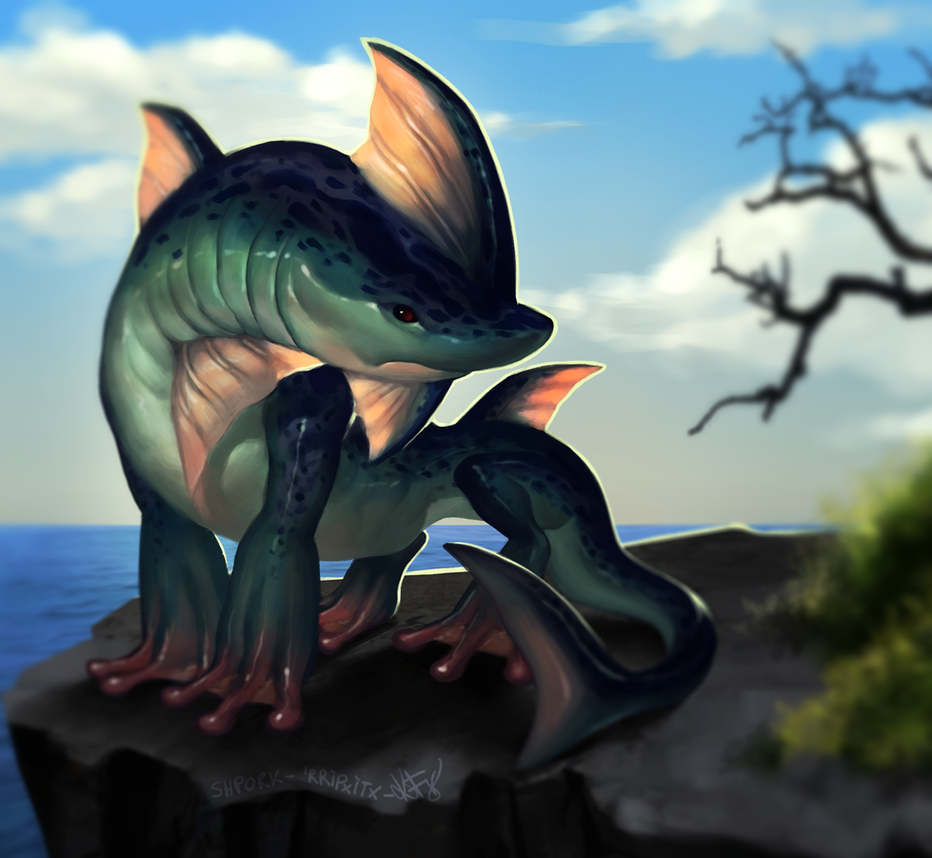 A Shark Frog Basilisk... Shpork? Frark? Ribbit? by sickdelusion