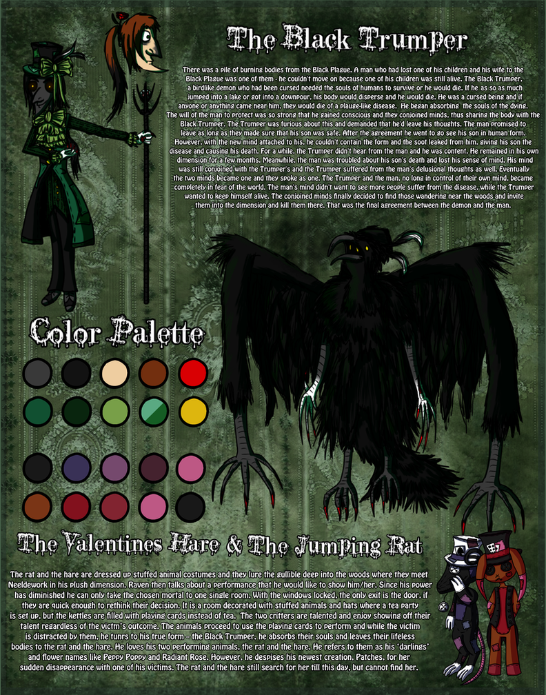 Horror OC Reference: The Black Trumper by CarillonNightmares