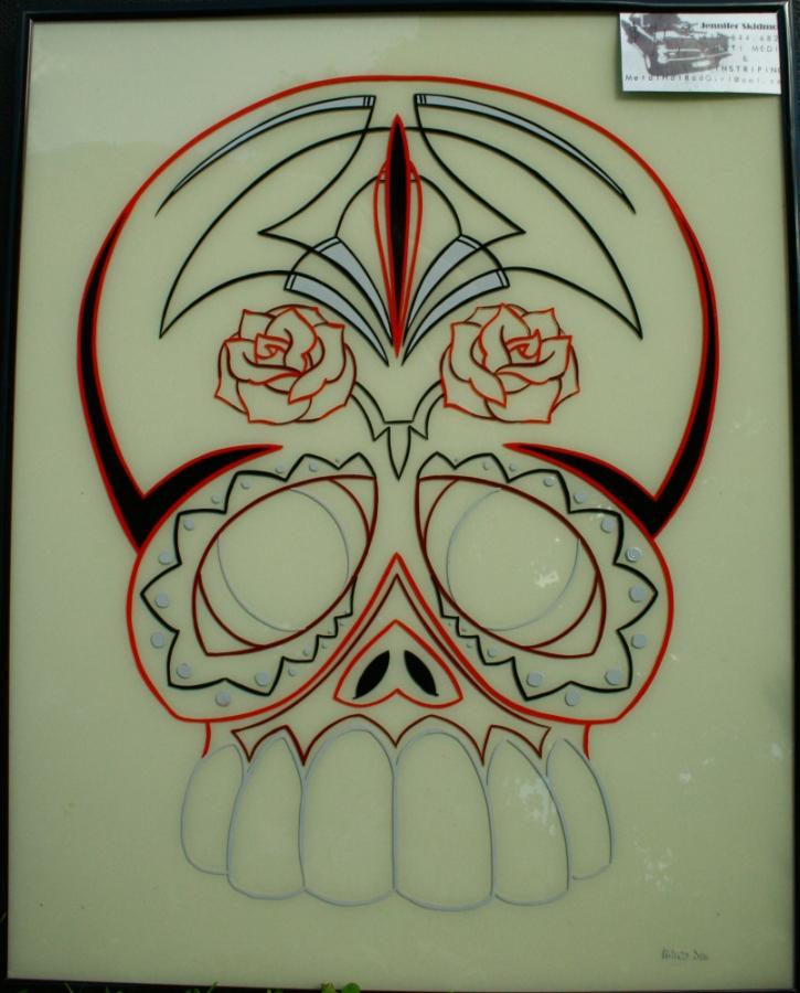 Pinstriped Sugar Skull by HotRodJen
