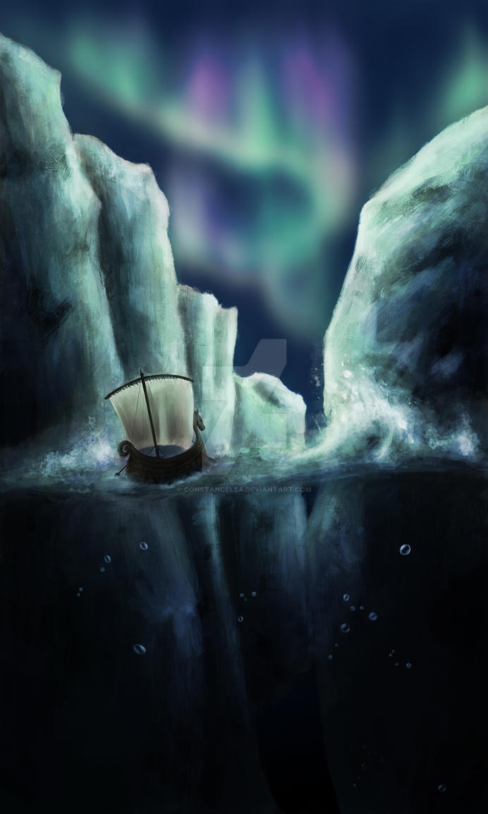 Viking Ship and Ice bergs by constancelea