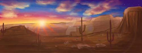 Desert Background with sunrise
