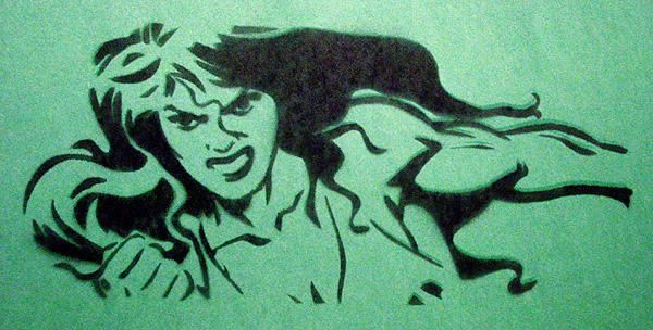 Sensational She-Hulk Stencil by miss--scarlet