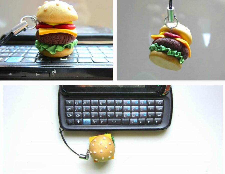 Burger Phone Charm by FlamingChickCreation