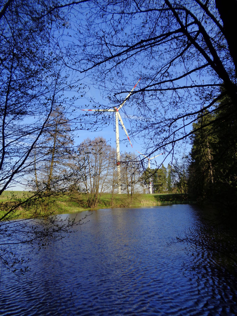 pond and windmill by Mittelfranke