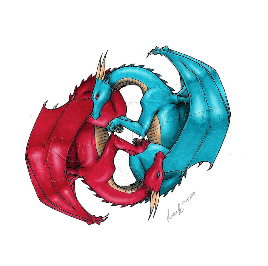 Commission 26 dragon yinyang by ryuchan444 on deviantart for Fire and ice tattoo shop
