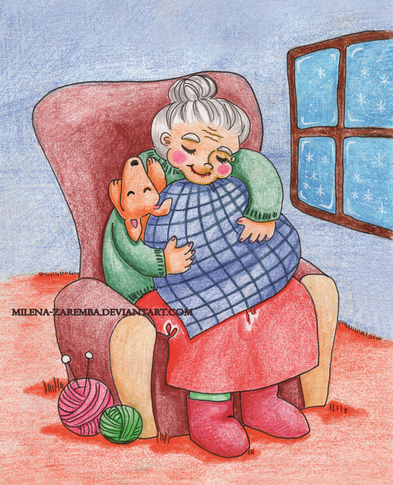 Granny and her doggy by Milena-Zaremba