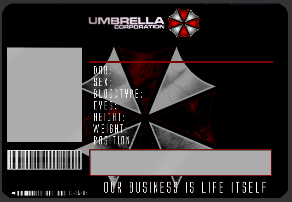 umbrella id card template by j
